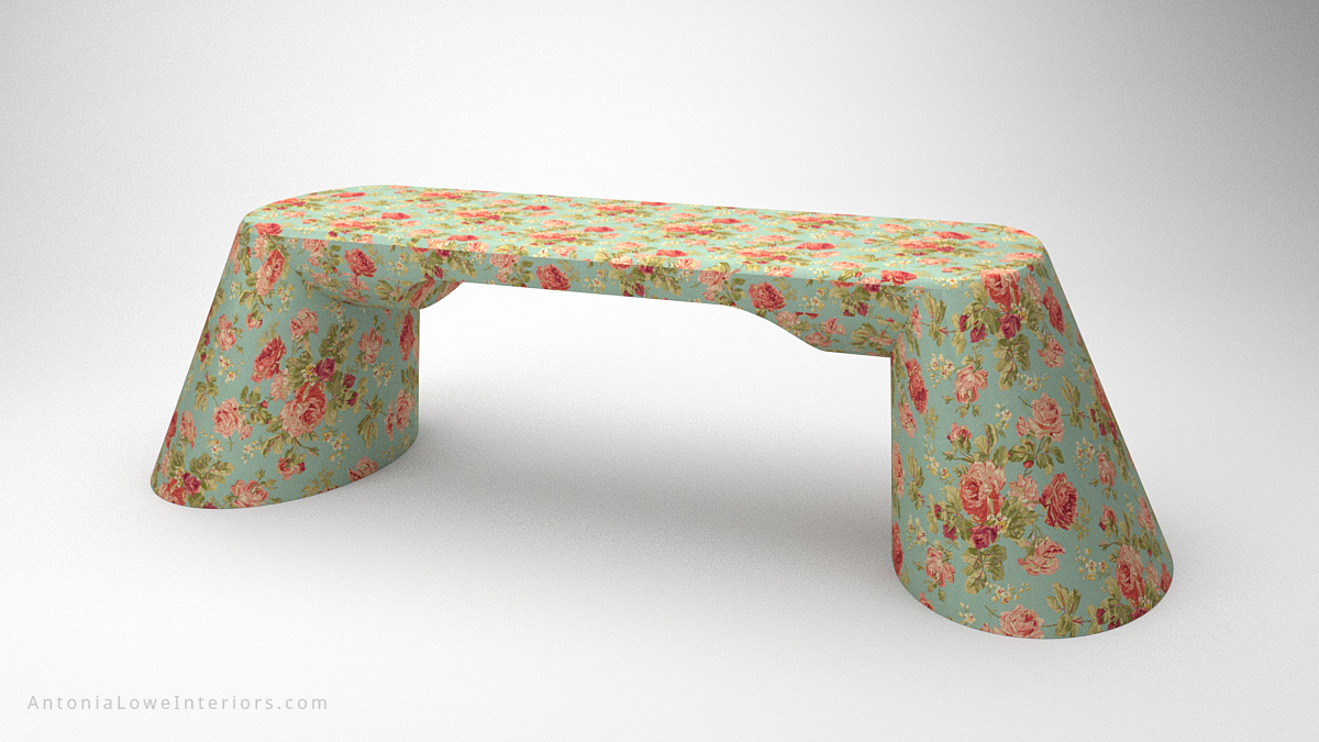 Beautiful Vintage Rose Desk curved base desk with blue background and beautiful pink rose print covering