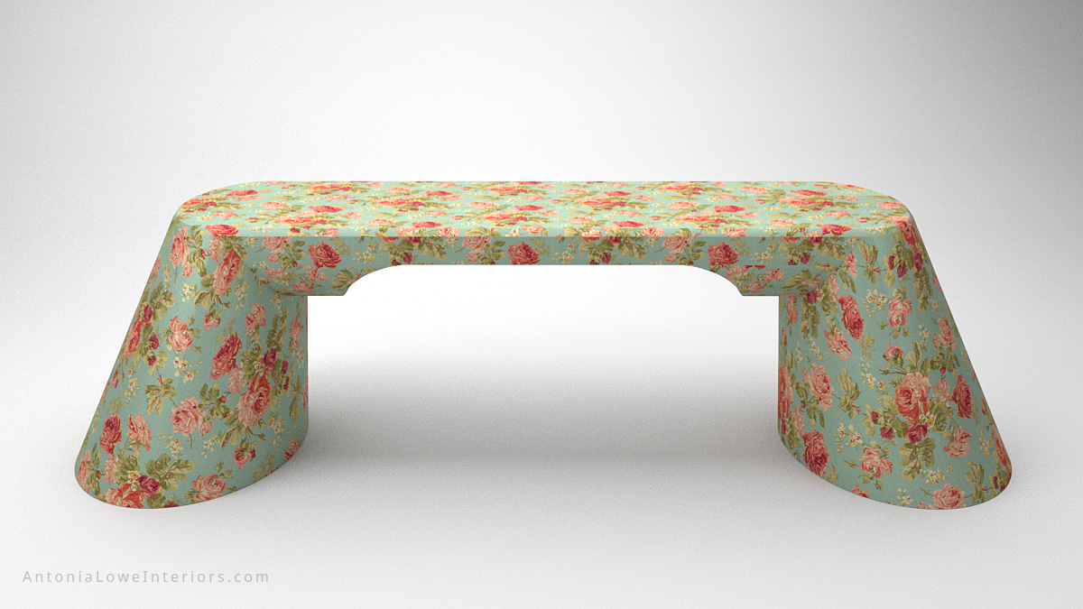 Front view Beautiful Vintage Rose Desk curved base desk with blue background and beautiful pink rose print covering