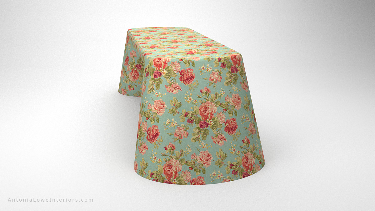 Side view Beautiful Vintage Rose Desk curved base desk with blue background and beautiful pink rose print covering
