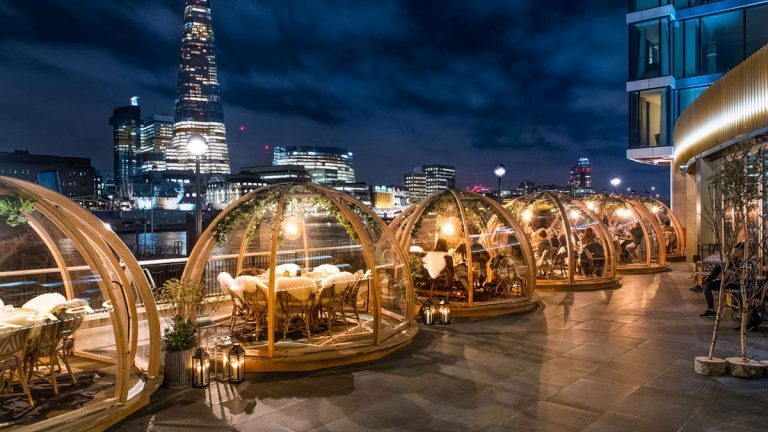 The Coppa Club Restaurant in London Heated Winter Igloos Let You Dine Under The Stars by Archer Humphryes Architects