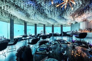 Subsix Per Aquum Niyama by Poole Associates is a Modern Underwater Dining and Paradise