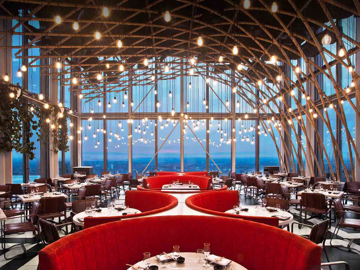 Sushi Samba in Bishopsgate, London by Cetra Ruddy has an Interior and Menu Born of Cultural Vibrancy and Energy with Beautiful Panoramic City Views