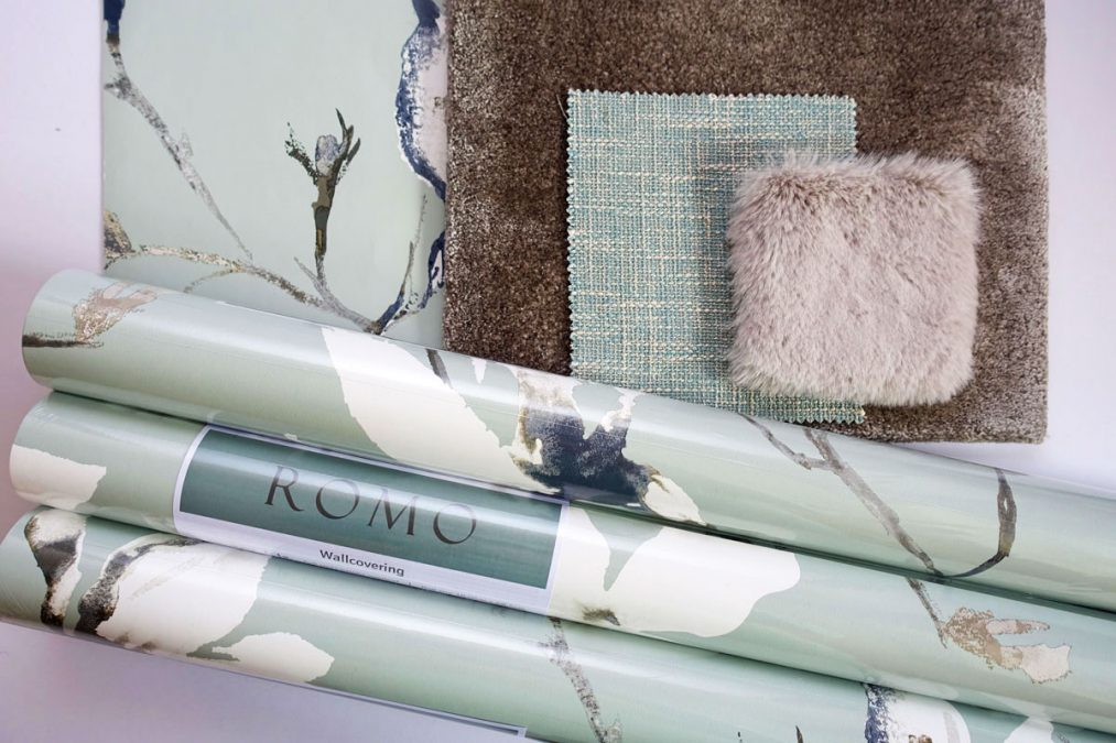 Romo Saphira Lovat Wallpaper with fabric samples