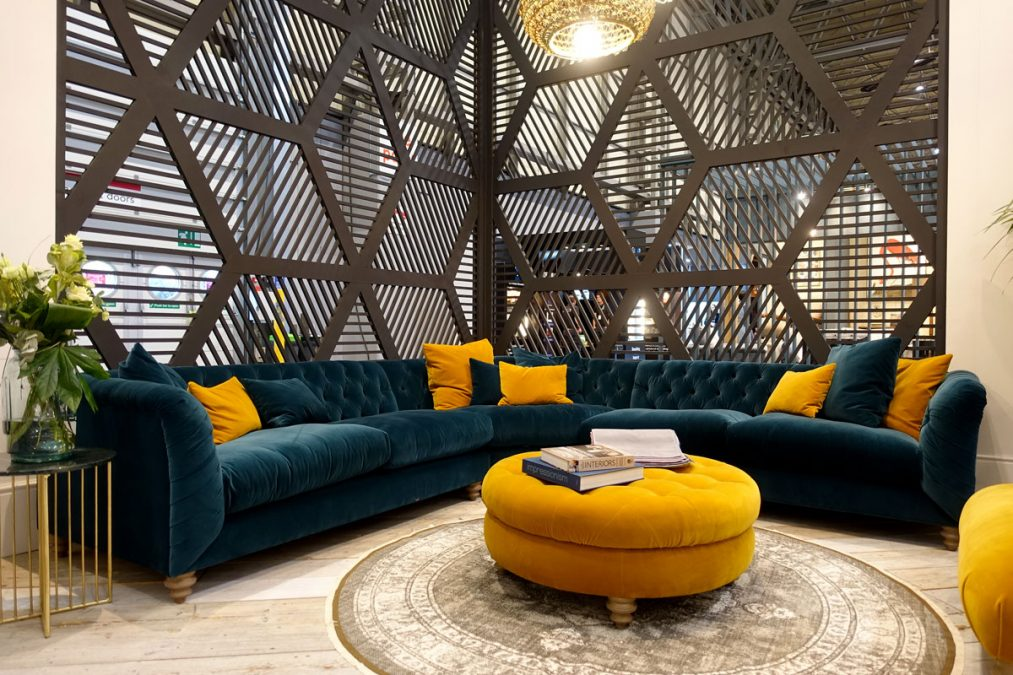 Teal and Mustard Sofa Interior Design