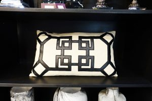 Monochrome Black And White Geometric Rectangle Cushion