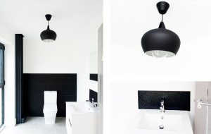 Monochrome black and white bathroom interior design