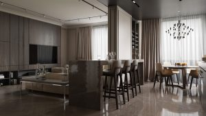 3D Render Open Plan Living Dining and Kitchen Interior Design in neutral colours