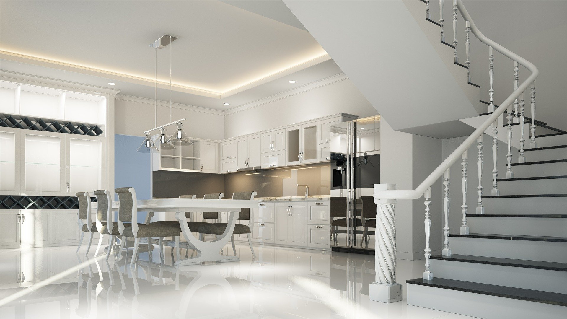 3D Render Neutral Modern Interior Design, white kitchen, marble table with beige grey fabric chairs and chrome with glass light fittings and white staircase