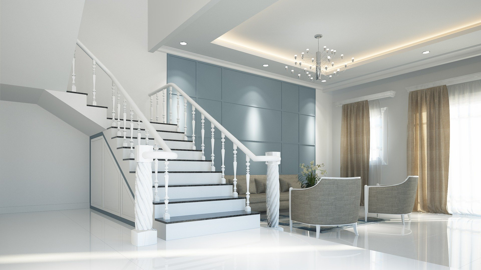 3D Render Neutral Modern Interior Design with modern white staircase, dark slate grey feature wall and beige grey curtains with beige grey sofa and occasional chairs