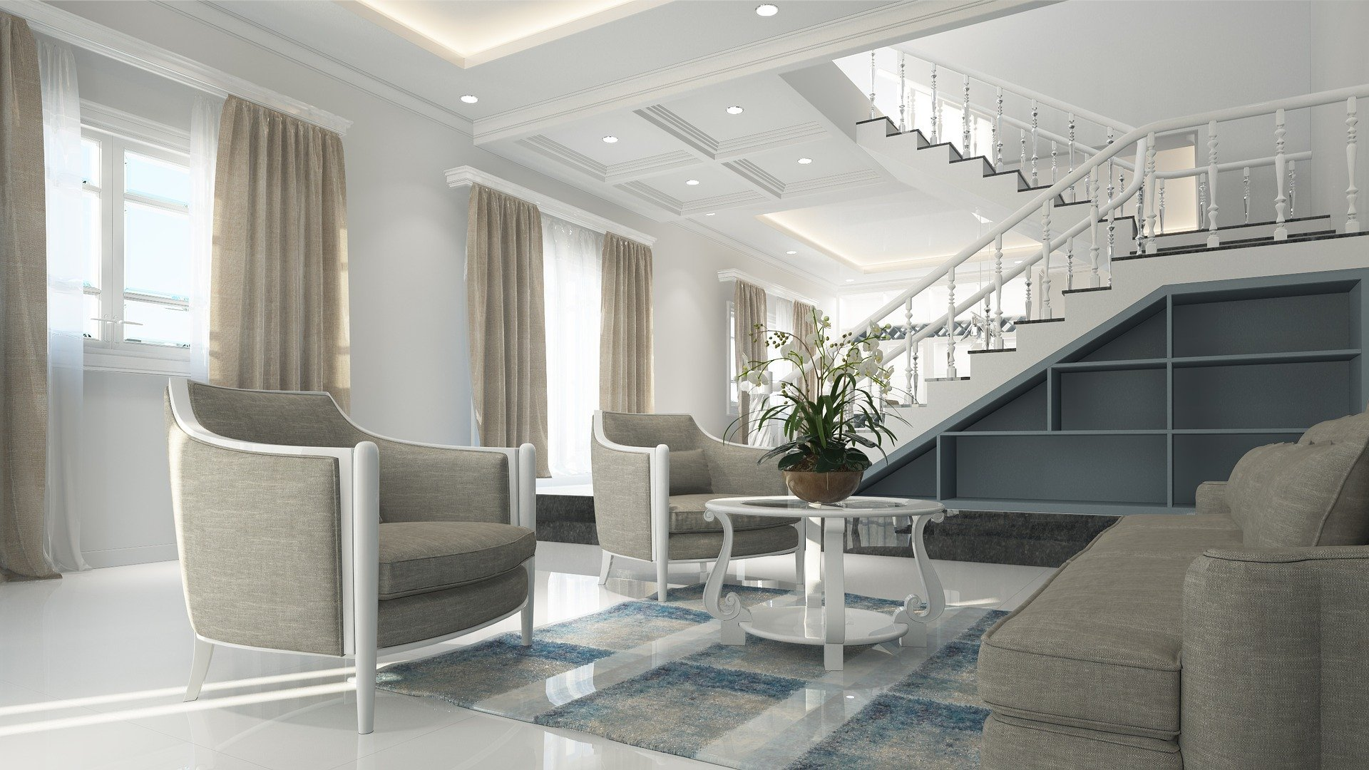 3D Render Neutral Modern Interior Design living room interior with beige grey sofa and occasional chairs, beige grey curtains and a blue ombre rug